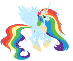 Size: 1500x1260 | Tagged: safe, artist:glamourkat, rainbow dash, alicorn, pony, alicornified, artifact, crown, ethereal mane, female, hoof shoes, jewelry, mare, peytral, race swap, rainbowcorn, regalia, simple background, solo, spread wings, transparent background, wings