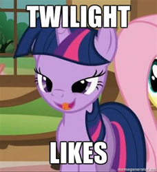 Size: 292x320 | Tagged: a bird in the hoof, caption, cropped, edit, edited screencap, image macro, licking, safe, screencap, solo focus, tongue out, twilight sparkle