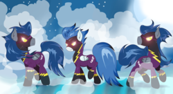 Size: 5208x2827 | Tagged: safe, artist:joemasterpencil, descent, nightshade, pegasus, pony, clothes, costume, fog, glowing eyes, goggles, shadowbolts, shadowbolts (nightmare moon's minions), shadowbolts costume