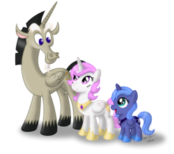 Size: 1024x908 | Tagged: safe, artist:aleximusprime, discord, princess celestia, princess luna, pony, accord (alicorn), age of the alicorns, filly, pink-mane celestia, simple background, transparent background, trio, woona, younger