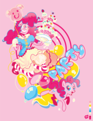 Size: 1001x1311 | Tagged: safe, artist:chicmonster, pinkie pie, human, balloon, cake, clothes, female, humanized, solo