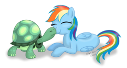 Size: 900x482 | Tagged: safe, artist:aleximusprime, rainbow dash, tank, simple background, sweet, transparent background