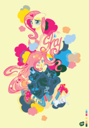 Size: 900x1284 | Tagged: safe, artist:chicmonster, angel bunny, fluttershy, human, clothes, female, humanized, solo