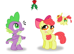 Size: 900x664 | Tagged: safe, artist:aleximusprime, apple bloom, spike, dragon, earth pony, pony, adorabloom, alternate cutie mark, apple bloom's bow, apple bloom's cutie mark, blank flank, blushing, bow, cute, cutie mark, duo, female, filly, hair bow, hearts warming day, holly, holly mistaken for mistletoe, idea, interspecies, male, nervous, shipping, simple background, spikebloom, straight, thinking, transparent background