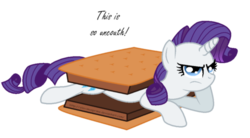 Size: 900x495 | Tagged: safe, artist:aleximusprime, rarity, inside joke, marshmallow, rarity is a marshmallow, s'mores, simple background, transparent background