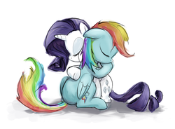 Size: 800x589 | Tagged: safe, artist:averagedraw, rainbow dash, rarity, crying, female, hug, lesbian, raridash, sad, shipping, traditional art, watercolor painting