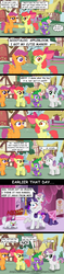 Size: 1024x4343 | Tagged: safe, artist:aleximusprime, apple bloom, opalescence, rarity, scootaloo, spike, sweetie belle, cat, dragon, earth pony, pegasus, pony, unicorn, :o, bloodshot eyes, bow, comic, comic sans, concerned, crossed arms, cutie mark crusaders, drool, excited, eyelid pull, fangs, female, filly, frown, grin, gritted teeth, hair bow, hissing, house, jewelry, lidded eyes, looking at each other, looking back, makeup, male, necklace, nervous, nervous grin, open mouth, pointing, ponyville, raised hoof, scratches, scratching, sitting, smiling, sweetie fail, tree, wide eyes