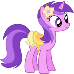 Size: 3968x4000 | Tagged: safe, artist:wolfy987, amethyst star, pony, unicorn, absurd resolution, background pony, clothes, cute, female, flower, flower in hair, mare, saddle, simple background, smiling, solo, tack, transparent background, vector