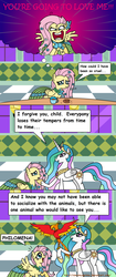 Size: 1024x2448 | Tagged: safe, artist:aleximusprime, fluttershy, philomena, princess celestia, after the gala, comic, comic sans, flutterrage, you're going to love me