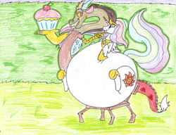 Size: 813x625 | Tagged: safe, artist:dragovian15, discord, princess celestia, chubbylestia, cupcake, dislestia, fat, female, male, morbidly obese, obese, shipping, straight, weight gain