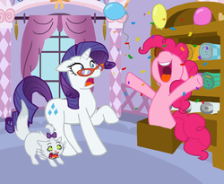 Size: 700x573 | Tagged: safe, artist:patrona, opalescence, pinkie pie, rarity, glasses, surprised
