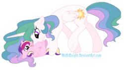 Size: 1600x911 | Tagged: safe, artist:wolfsknight, princess cadance, princess celestia, alicorn, pony, cute, cutedance, cutelestia, duo, female, filly, filly cadance, mare, momlestia, raspberry, signature, simple background, tickling, transparent background, tummy buzz, young, younger