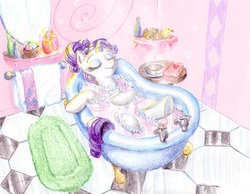 Size: 1800x1400 | Tagged: safe, artist:muffinshire, rarity, bath, book, candle, claw foot bathtub, rubber duck, soap, tea, towel, traditional art