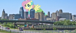 Size: 1636x722 | Tagged: safe, fluttershy, pony, giant pony, giantess, highrise ponies, kansas city, macro