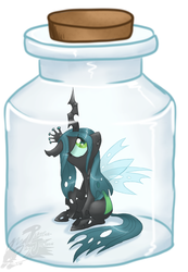 Size: 1059x1533 | Tagged: safe, artist:mahoxyshoujo, queen chrysalis, changeling, changeling queen, bottle, female, jar, sad, trapped