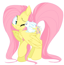 Size: 882x900 | Tagged: safe, artist:chib-bee, angel bunny, fluttershy, pegasus, pony, cute, daaaaaaaaaaaw, eyes closed, featured image, female, fluffy, hnnng, long mane, long tail, mare, nuzzling, one eye closed, photoshop, raised hoof, shyabetes, simple background, smiling, transparent background, weapons-grade cute, wink