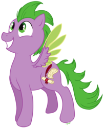 Size: 675x825 | Tagged: safe, artist:c-puff, spike, pegasus, pony, grin, male, ponified, ponified spike, simple background, smiling, solo, species swap, transparent background
