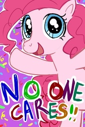 Size: 300x450   Tagged: safe, artist:lllmekelll, pinkie pie, female, looking at you, nobody cares, open mouth, reaction image, smiling, solo