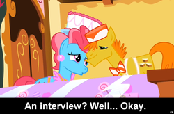 Size: 1024x671 | Tagged: caption, carrot cake, carrot cup, comic:celestia's servant interview, cup cake, female, interview, male, safe, shipping, straight