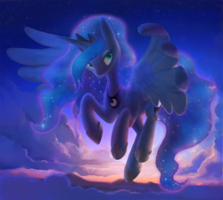 Size: 1650x1482 | Tagged: alicorn, artist:dawnfire, backlighting, cloud, cloudy, colored pupils, female, flying, jewelry, lidded eyes, looking at you, mare, pony, princess luna, regalia, safe, sky, solo, spread wings, sunset, wing fluff, wings