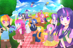 Size: 2929x1945 | Tagged: safe, artist:nooosheee, apple bloom, applejack, big macintosh, cheerilee, derpy hooves, dj pon-3, fluttershy, octavia melody, pinkie pie, princess celestia, princess luna, rainbow dash, rarity, scootaloo, screwball, spike, sweetie belle, trixie, twilight sparkle, vinyl scratch, zecora, human, belly button, cheeribetes, cheerimac, clothes, cute, cuteball, cutie mark crusaders, dress, female, horned humanization, human female, humanized, looking at you, macabetes, male, mane seven, mane six, midriff, mountain, open mouth, picnic, shipping, sitting, skirt, smiling, straight, tailed humanization, tavibetes, vinylbetes, wall of tags, waving, wind, winged humanization, zecorable