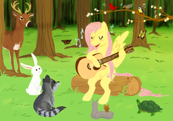 Size: 981x688 | Tagged: safe, artist:cartoonlion, angel bunny, fluttershy, bird, butterfly, deer, rabbit, raccoon, squirrel, tortoise, guitar, singing