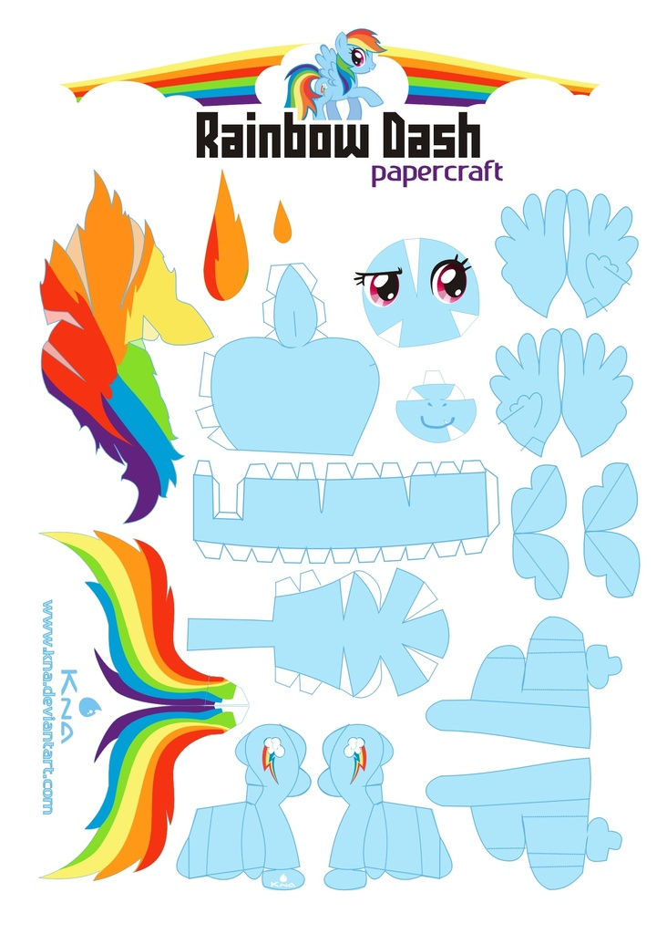 67093 Artist Kna Papercraft Rainbow Dash Safe Template