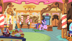 Size: 1366x768 | Tagged: safe, twilight sparkle, pony, unicorn, female, mare, red eyes, sugarcube corner