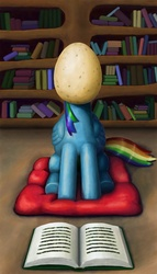 Size: 1280x2240 | Tagged: safe, artist:dahtamnay, rainbow dash, book, egg, egghead, egghead dash, female, fine art parody, pun, rené magritte, solo, the son of man, visual pun