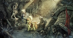 Size: 1200x635 | Tagged: safe, artist:ziom05, carrot top, derpy hooves, golden harvest, pegasus, pony, undead, derpy's and carrot top's journey, armor, female, mare, ruins, scenery, scenery porn, skeleton, statue