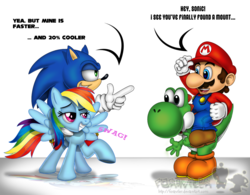 Size: 1000x781 | Tagged: artist:forusu, crossover, douchebag, female, interspecies, male, maridash, mario, rainbow dash, riding, safe, shipping, sonicdash, sonic the hedgehog, sonic the hedgehog (series), straight, super mario bros., swag, yoshi