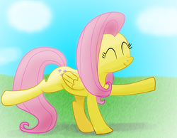 Size: 2250x1750 | Tagged: safe, artist:ciscoql, fluttershy, pegasus, pony, dancing, eyes closed, female, folded wings, grass field, mare, outdoors, raised hoof, raised leg, smiling, solo, wings