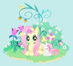 Size: 600x540 | Tagged: safe, artist:kekani, angel bunny, fluttershy, bird, cute, duo, floral head wreath, flower, garden