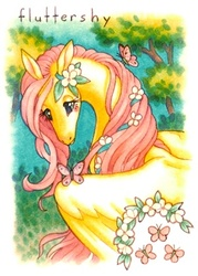 Size: 300x420 | Tagged: safe, artist:cassiefrese, fluttershy, butterfly, traditional art