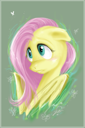 Size: 600x905 | Tagged: safe, artist:mrkillcheese, fluttershy, pegasus, pony, blushing, bust, female, floppy ears, looking at something, looking away, mare, portrait, solo, three quarter view