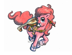 Size: 476x363 | Tagged: safe, artist:amaruana, pinkie pie, bard, lute, traditional art
