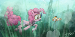 Size: 1136x566 | Tagged: safe, artist:malicieuxx, pinkie pie, fish, diving, goggles, snorkel, swimming goggles, underwater