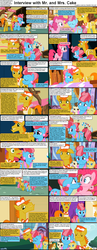 Size: 1282x3304 | Tagged: baby cakes, caption, carrot cake, comic, comic:celestia's servant interview, cup cake, foal, interview, pinkie pie, pound cake, pumpkin cake, safe