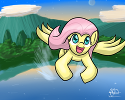 Size: 1280x1024 | Tagged: safe, artist:mister-markers, fluttershy, pegasus, pony, female, flying, lake, looking up, mare, moon, mountain, open mouth, outdoors, smiling, solo, spread wings, wings