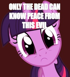 Size: 851x938 | Tagged: safe, twilight sparkle, pony, unicorn, :c, caption, female, frown, funny, horrified, image macro, looking at you, mare, only the dead can know peace from this evil, red background, simple background, solo, text