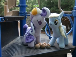 Size: 640x480 | Tagged: safe, artist:meowplease, derpy hooves, screwball, pony, best friends, custom, doll, hat, irl, muffin, photo, plushie, propeller hat, sharing, swirly eyes, toy