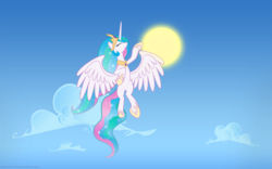 Size: 1920x1200 | Tagged: artist:pozdn9k, celestial mechanics, flying, princess celestia, safe, solo, sun