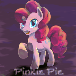 Size: 800x800 | Tagged: safe, artist:zowieblaze, pinkie pie, earth pony, pony, female, looking at you, mare, open mouth, raised hoof, solo