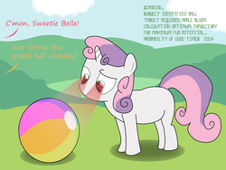 Size: 5000x3750 | Tagged: safe, artist:the-skullivan, sweetie belle, pony, robot, robot pony, unicorn, ball, beach ball, blank flank, comic, female, filly, foal, hooves, horn, scanning, solo focus, sweetie bot