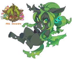 Size: 837x694 | Tagged: safe, artist:rikose, queen chrysalis, changeling, changeling queen, nymph, :3, alternate hairstyle, cake, candy, cute, cutealis, eyes closed, fangs, female, floppy ears, food, glare, green changeling, grin, heart, hug, looking at you, nom, prone, sharp teeth, simple background, smiling, smirk, solo, sugarcube, sweets, teeth, white background, younger