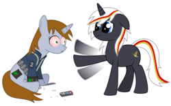 Size: 1600x1000 | Tagged: safe, artist:dr-phoen-x, oc, oc only, oc:littlepip, oc:velvet remedy, pony, unicorn, fallout equestria, bloodshot eyes, clothes, drugs, fanfic, fanfic art, female, high, mare, mint-als, party time mintals, pipbuck, simple background, transparent background, vault suit