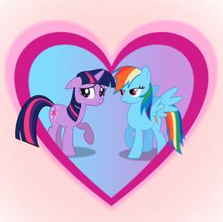 Size: 900x898 | Tagged: safe, artist:dynadrag, rainbow dash, twilight sparkle, blushing, female, heart, lesbian, shipping, twidash