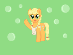 Size: 1024x768 | Tagged: safe, artist:ydenne, applejack, alternate universe, apron, clothes, looking at you, raised hoof, solo