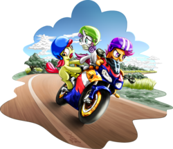 Size: 1560x1350 | Tagged: safe, artist:dcpip, apple bloom, scootaloo, sweetie belle, cutie mark crusaders, motorcycle, riding, scared