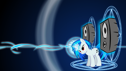 Size: 1920x1080 | Tagged: safe, artist:warpout, dj pon-3, vinyl scratch, bass cannon, wallpaper